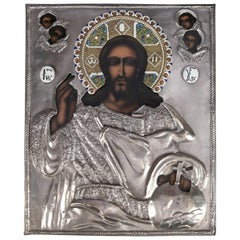 Handcrafted Russian Orthodox Icon Jesus Christ & Angels, Silver Plate on Litho