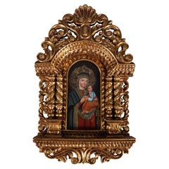 "Italian Carved and Gilt Hand-Painted ""Our Lady of Perpetual Help"" Retablo"