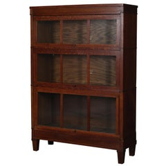 Arts & Crafts Mission Oak Three-Stack Barrister Bookcase by Macey, circa 1910