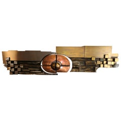XL Hammered Copper, Brass and Steel Artwork by Carlos Marinas, 1975