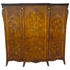 French Palisander Marquetry Armoire Louis XV Style