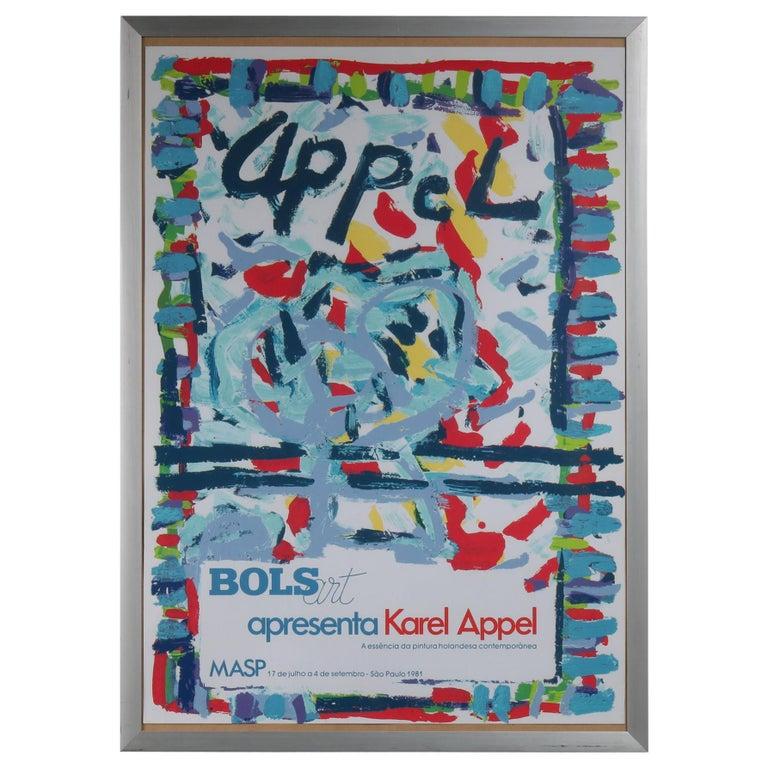 Karel Appel Lithograph for the Bols Art Exhibition, Brazil 1981 For Sale