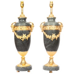 Exquisite Pair of Handmade Marble Gilt Mounted Table Lamps