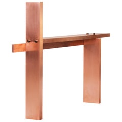 Contemporary 'CB01' Bench in Brushed Copper and Tailor Made Steel Bolts