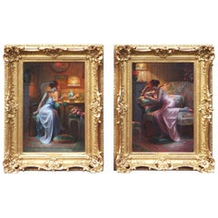Superb Pair of Interior Oil Paintings by Max Carlier, circa 1900