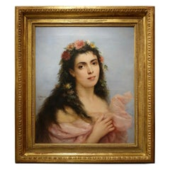 Portrait of a Young Women - Painting Signed Ch. Schreiber, 1893