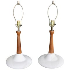 Pair of Mid-Century Modern Atomic Walnut Pottery Table Lamps