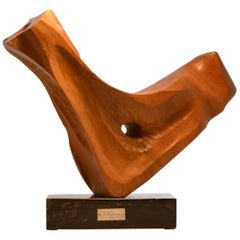 Abstract Wooden Carved Sculpture by E. Robson