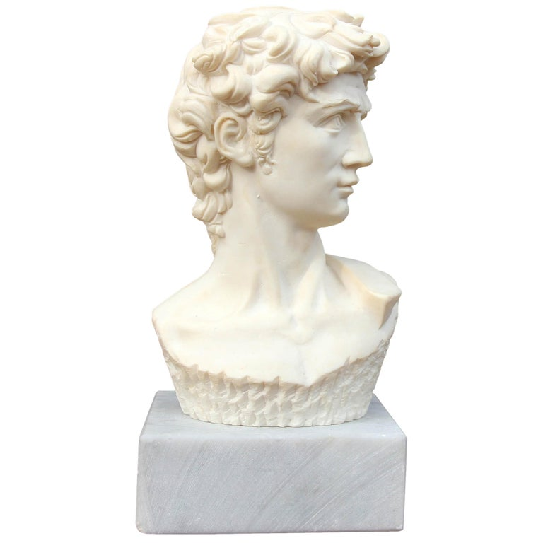 Cast Stone Bust of David after Michelangelo