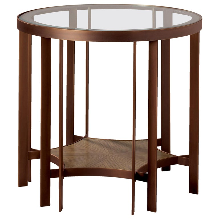 Donghia Acadia Legacy End Table in Bronze with Glass Top and Wood Shelf For Sale