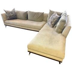 Ligne Roset Sectional Sofa Two-Piece Didier Gomez Design Suede Leather Alcantara