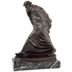 Jose Maria Acuna Lopez, Bronze Sculpture Man with Long Coat and Hat Pilgrim