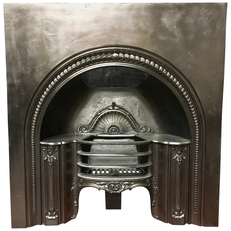 Antique Victorian Arch Cast Iron Fireplace Surround Insert For
