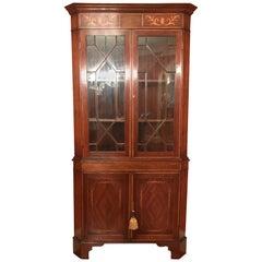 Mahogany Double-Door Corner Cupboard