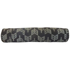 "Vintage Long Grey and Black Japanese ""Boro"" Textile Decorative Bolster Pillow"