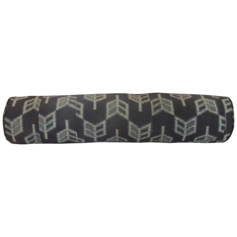"Vintage Long Grey and Black Japanese ""Boro"" Textile Decorative Bolster Pillow"