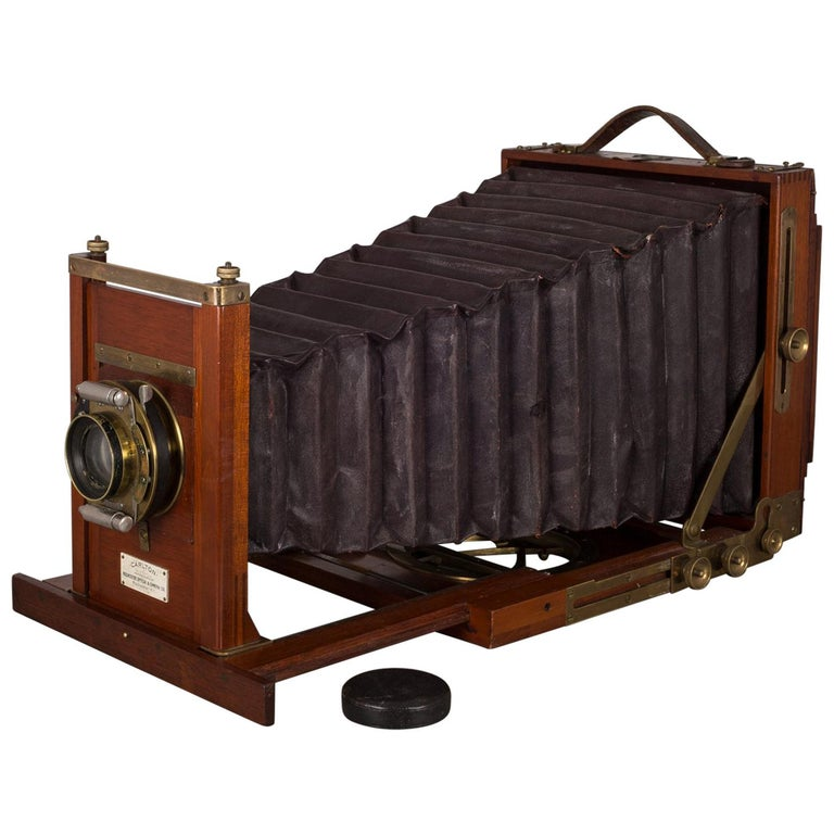 Antique Mahogany and Large Brass Folding Camera, circa 1890s For Sale
