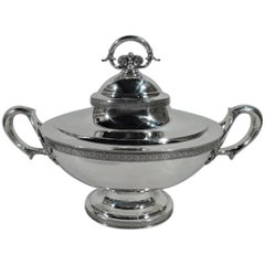 Stylish Sterling Silver Covered Soup Tureen by Tiffany
