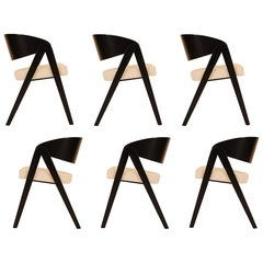 Set of Six Compass Dining Chairs Designed by Allan Gould