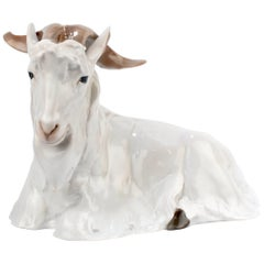 Large Art Nouveau Dalmatian Goat Figurine by Willy Zügel for Rosenthal Porcelain