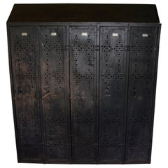 Gym Locker of Vintage Industrial Black Steel from GM Factory, Detroit