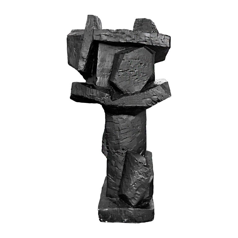1970s Abstract Solid Cast Plaster Sculpture in Matte Black Finish For Sale