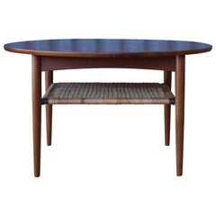 Teak Coffee Table with Caned Shelf, Denmark, 1950s