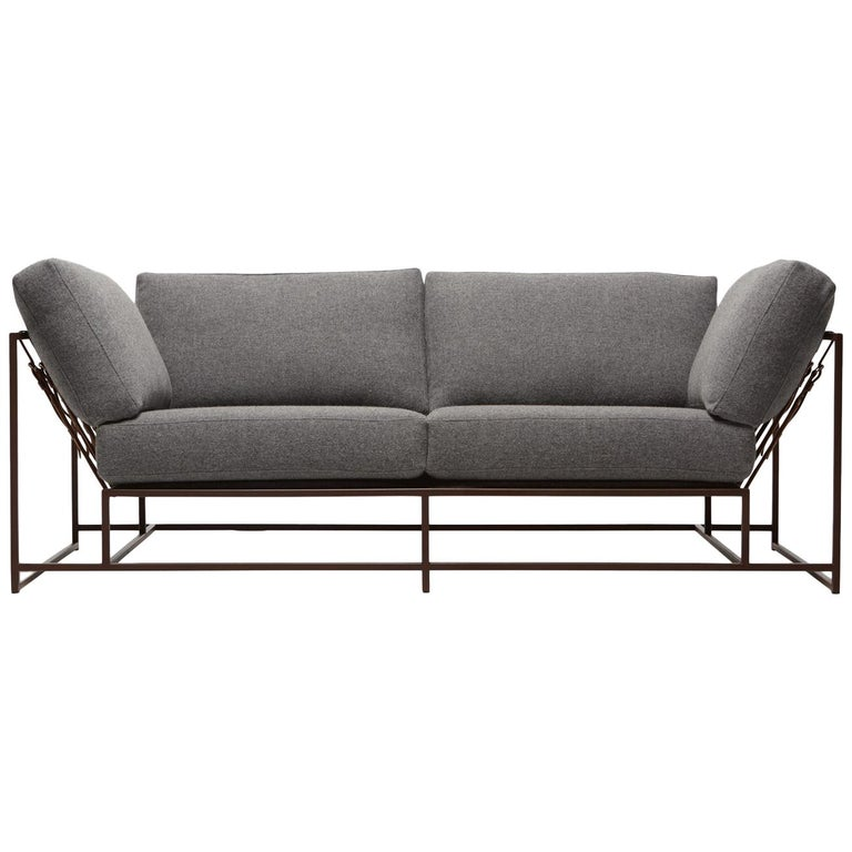 Grey Wool & Marbled Rust Two-Seat Sofa