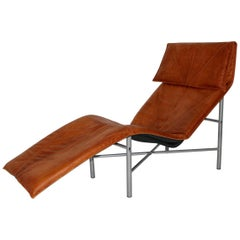 Leather Chaise Longue by Tord Bjorklund Sweden, 1970s