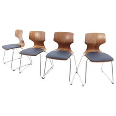 Set of Four Midcentury Chairs Pagholz, Elmar Flototto, 1970s
