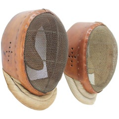 Pair of Vintage Fencing Leather Masks, Art Deco, 1930s