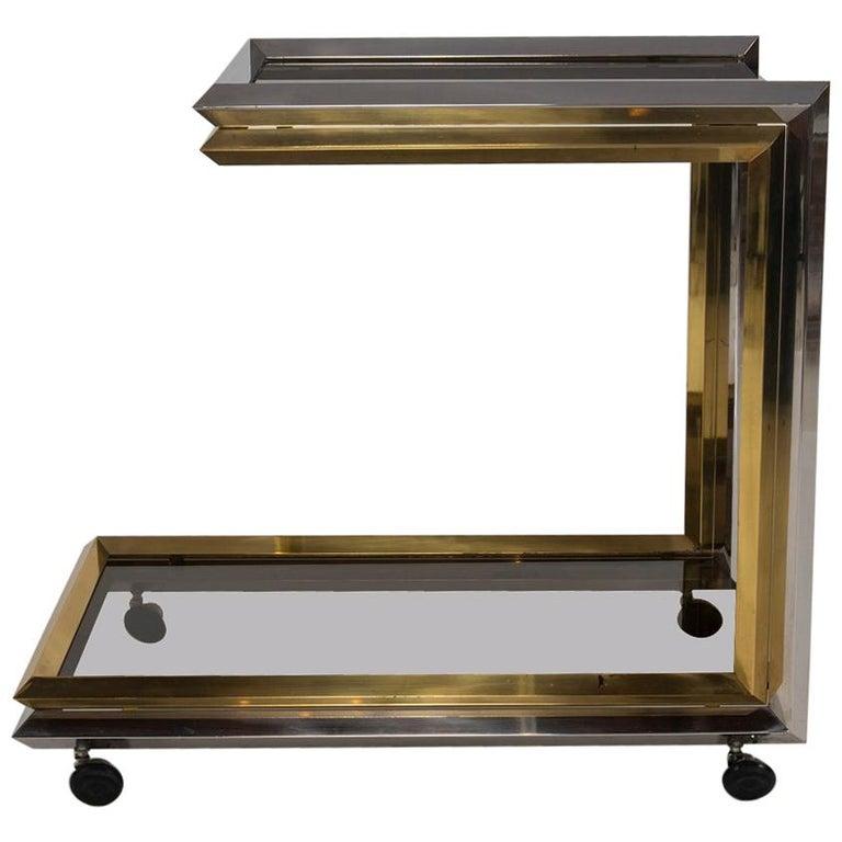 Chrome and Brass Bar Cart