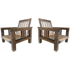 Pair of Vintage Solid Teak Patio Lounge Chairs by Terra Furniture