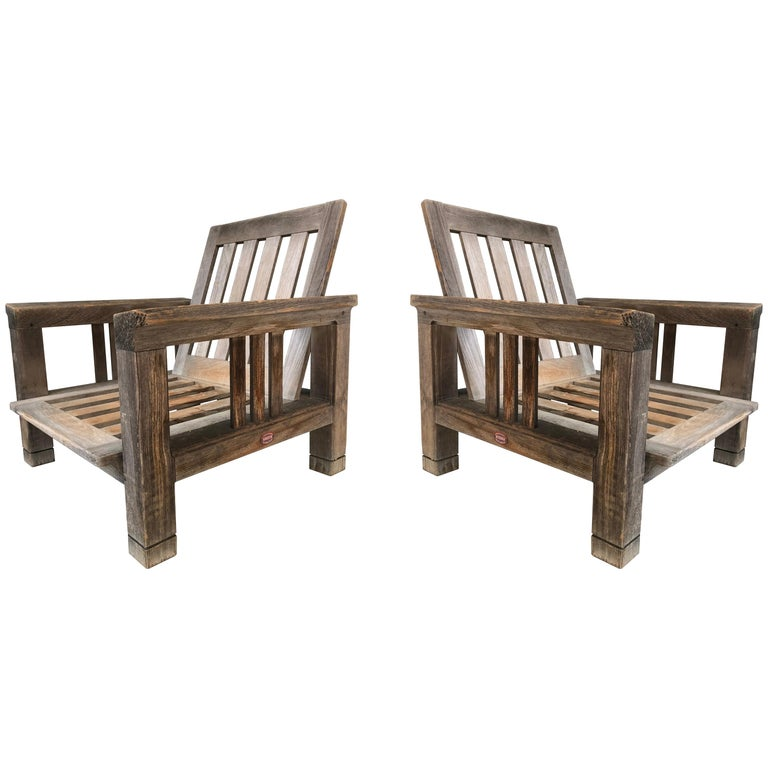 Pair of Vintage Solid Teak Patio Lounge Chairs by Terra Furniture