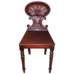 18th Century Irish Georgian Mahogany Hall Chair with Scallop Back