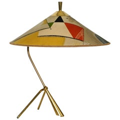 XXL Kalmar Midcentury Brass Tripod Table Lamp - Original Colorful Fabric Shade