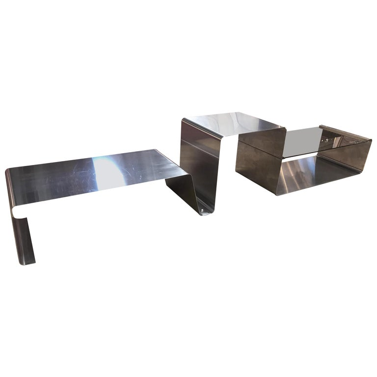 Sculptural Coffee Table Made of Three Modular Glass and Chrome Pieces, 1970s For Sale