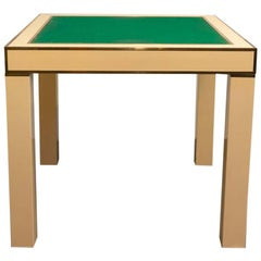 Lacquered Ivory and Brass Game Table Designed by Jean-Claude Mahey