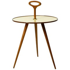 Rare Round Mid-Century Modern Tripod Table with Walnut Handle and Legs