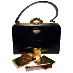 Art Deco Evans Elegance Handbag in Black Leather