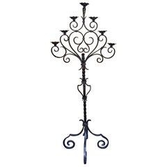 18th Century Spanish Cast Iron Floor Candelabra