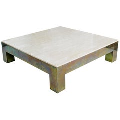 Mid-Century Modern Massive Marble and Brass Square Coffee Table Springer Era