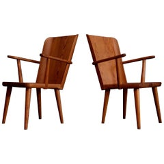 Rare Pair of Swedish Pine Chairs by Göran Malmvall, 1950s
