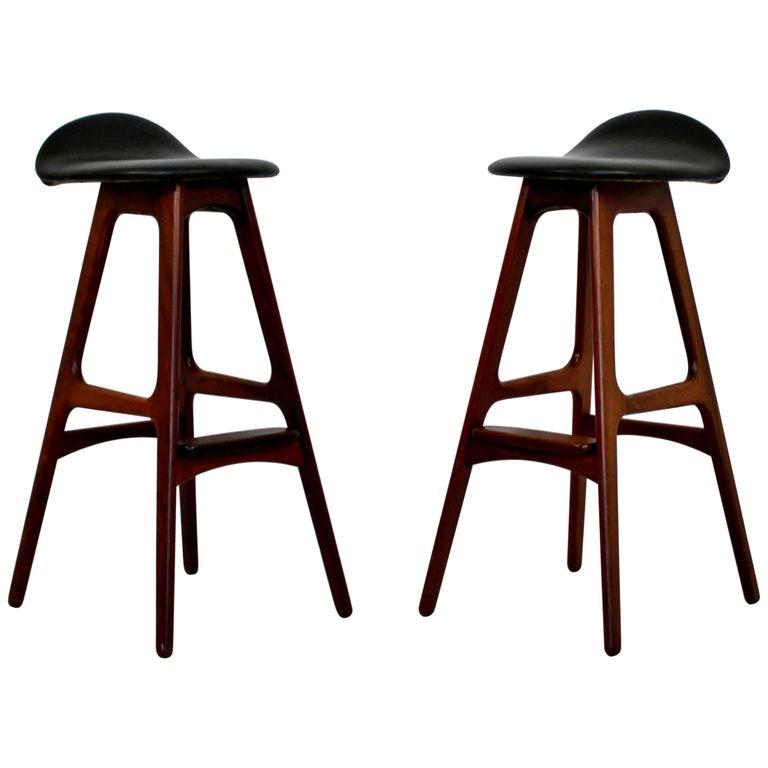 Mid-Century Modern Erik Buch Buck Pair Rosewood & Teak Bar Stools 1960s Danish