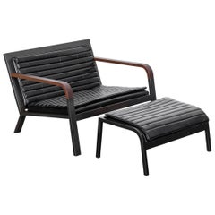 DK Chair and Ottoman Set in Blackened Steel, Walnut and Black Leather Upholstery