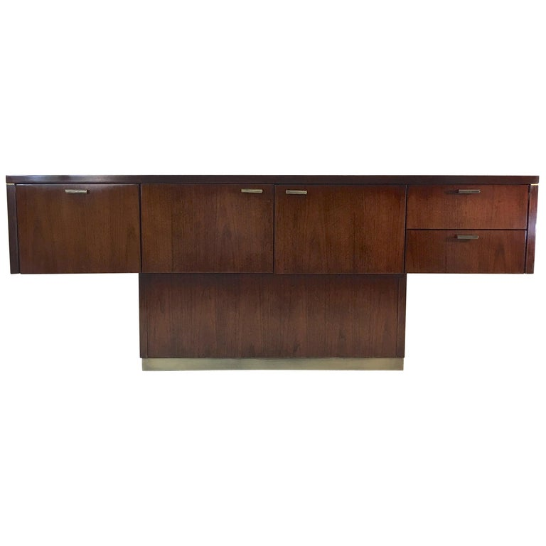 Platner Inspired Walnut and Bronze Floating Credenza For Sale