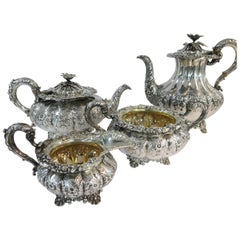 Antique English Melon Shaped Tea and Coffee Set, 1828 by Barnards