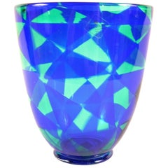 Barovier & Toso Blue Mosaic Triangle Murano Venezia Glass Vase