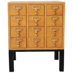 Vintage Twelve-Drawer Card Catalog End Table OR Nightstand by Garlord Bros