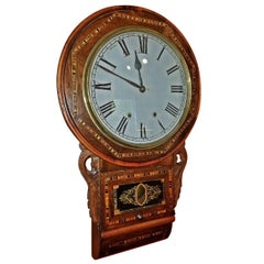 19 Century American Rosewood and Inlaid Regulator Wall Clock